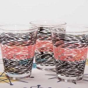 Kitsch pink and black shot glasses