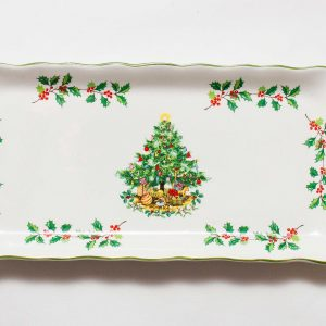 Vintage James Kent Staffordshire Christmas Tree Sandwich snacks decorative festive Porcelain Plate Dish