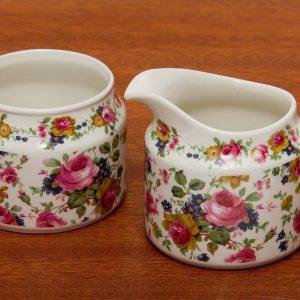 Sadler Pink Rose pattern Sugar Bowl & Creamer Jug English pottery afternoon tea