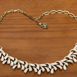 vintage silver and white enamel necklace