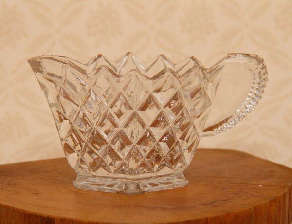 Small Vintage Glass Jug, Small Vintage Glass Jug Diamond Shape Pressed Glass