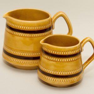 A pair of Sadler Mid Century Vintage 2 tone brown glaze jugs pottery Flower Vase Milk Jug Custard Jug