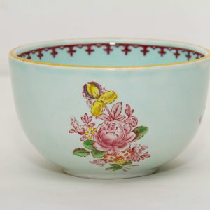 Adams Calyx Ware Micratex green pink Oriental flowers Vintage Adams crown mark English Ironstone sugar bowl dish pottery replacements