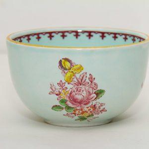 Adams Calyx Ware Micratex green pink Oriental flowers Vintage Adams crown mark English Ironstone sugar bowl dish pottery replacements