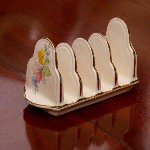 Arthur Wood ceramic pottery toast rack gold edging and flower decoration vintage England