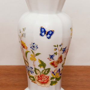 "Aynsley Cottage Garden flare top 6"" high vase English Fine Bone China vintage flower blue butterfly pattern"