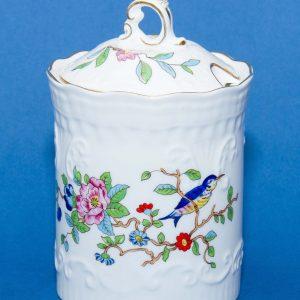Aynsley PEMBROKE fine English bone china floral flower bird pattern design jar preserve jar with lid