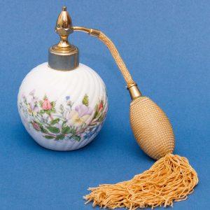 Aynsley Wild Tudor perfume bottle spray atomiser fine English bone china floral design gold tassel
