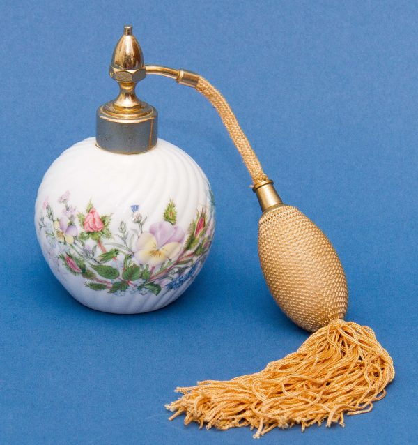 , Aynsley Wild Tudor perfume bottle spray atomiser fine English bone china floral design gold tassel