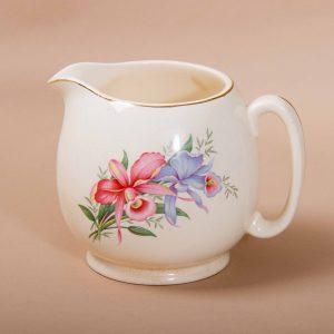 Biltons (1912) Ltd vintage antique floral botanical pottery jug pink & blue flowers gold edge