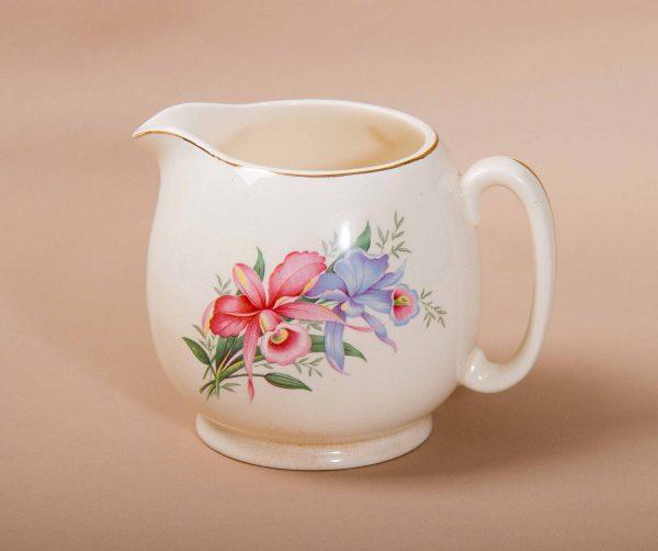 , Biltons (1912) Ltd vintage antique floral botanical pottery jug pink & blue flowers gold edge