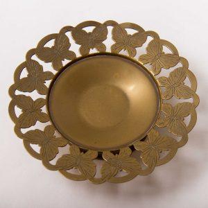 Brass Butterfly pattern round dish circular trinket coin tray Bon Bon dish tea light candle holder