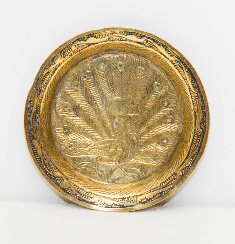 Brass Peacock Pattern Dish Small Trinket Tray Decorative Metalware