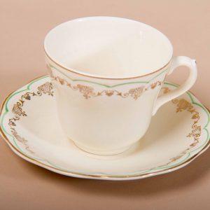 British Anchor Regency vintage tea cup & saucer grren scallop gold edge pattern Staffordshire Potteries England