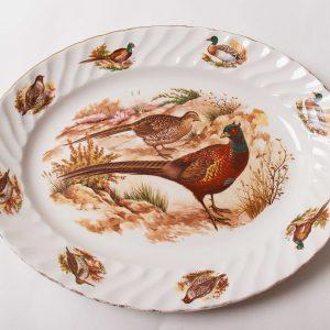 Broadhurst Bros Burslem large Pheasant game bird duck oval serving platter pottery plate gilt edge