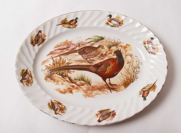 , Broadhurst Bros Burslem large Pheasant game bird duck oval serving platter pottery plate gilt edge