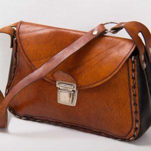 Brown and black leather vintage handbag chunky stitching