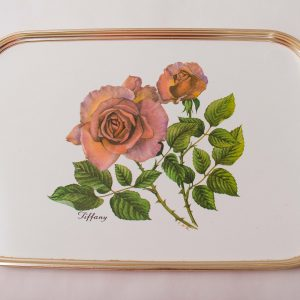 CAREFREE MANCHESTER Tiffany Vintage Mid Century Rose floral gold metal edged serving tray bar cocktail afternoon tea