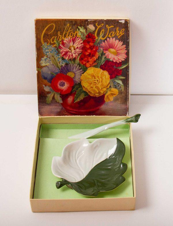 Carlton Ware vintage leaf shape dish, Carlton Ware vintage leaf shape dish plate & knife 2 tone green pottery in original box