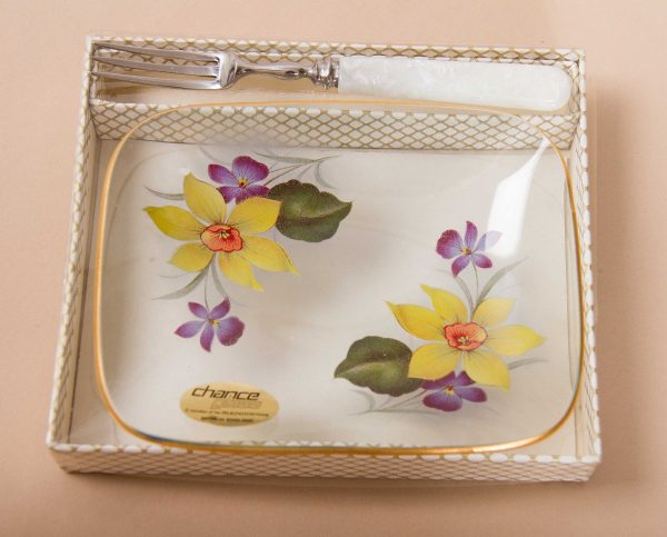 Chance glass tray with original fork, CHANCE Glass Square Tray dish Mother Pearl handle fork, yellow and purple Flowers pattern on clear glass gold rim original box Mid Century