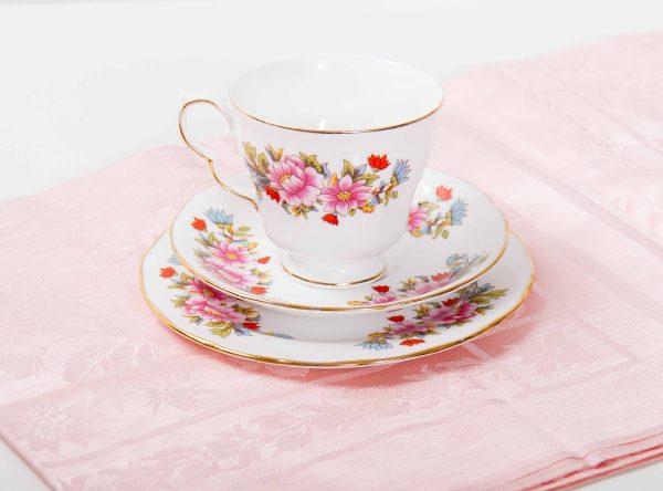 Royal Kent tea cup, English Royal Kent fine bone china vintage tea cup plate saucer trio set pink & blue flower pattern