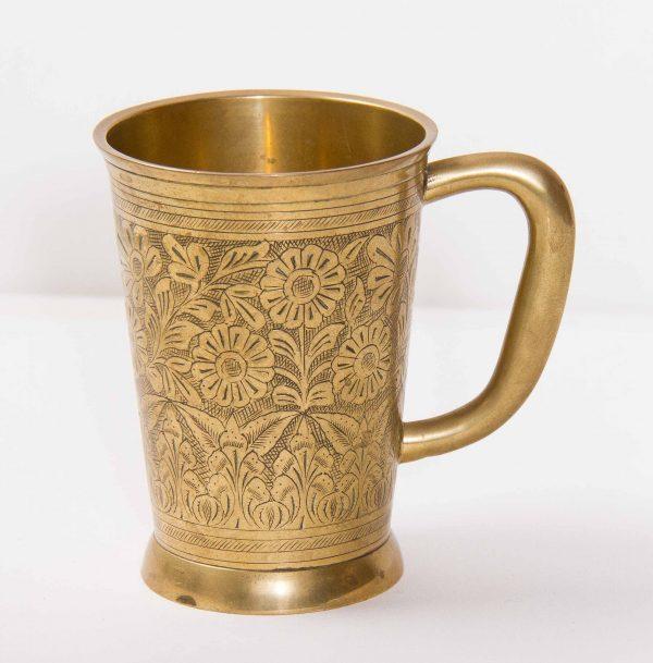 brass TANKARD, Brass flower botanical pattern engraved tankard with handle