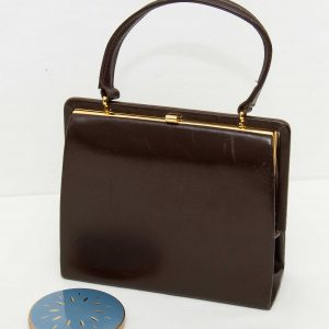 EROS vintage brown leather Kelly bag with handle gold clasp Made in England 1950's 1960's