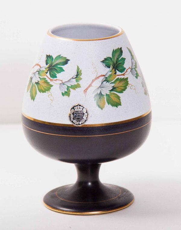 Holland pottery, Flora Plateel Keramiek Gouda Holland Petra Dutch goblet pottery vase green leaves gold edge
