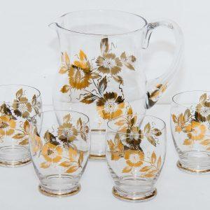 Gold flower Vintage cocktails fruit water large jug & 4 glasses tumblers set retro cocktails serving