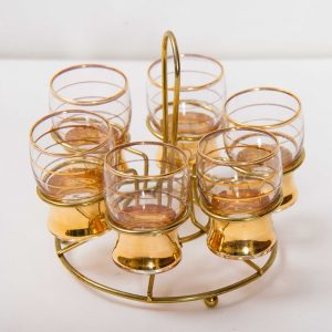 Gold shot glass set with metal wire caddy carry holder drinks bar 6 glasses Vintage Kitsch