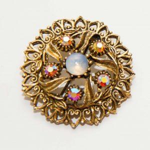 Gold tone rhinestone opal vintage brooch