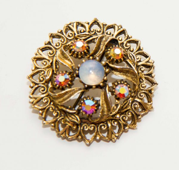 , Gold tone rhinestone opal vintage brooch