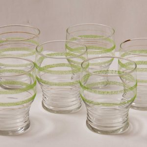 Green frosted stripe and gold band glasses tumblers set of 6 retro cocktails drinks Mid Century kitsch vintage glass