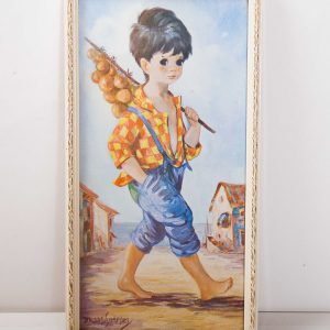 Kitsch Dallas Simpson Boy in Blue retro vintage framed print picture Mid Century