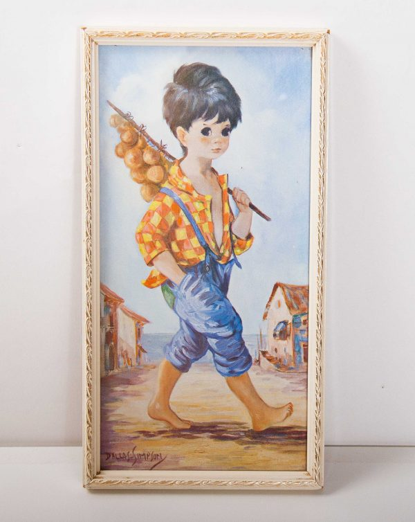 , Kitsch Dallas Simpson Boy in Blue retro vintage framed print picture Mid Century