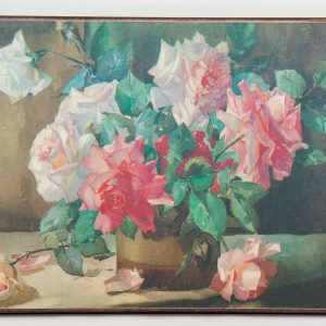 Kitsch flower still life painting print picture Mid Century vintage on board