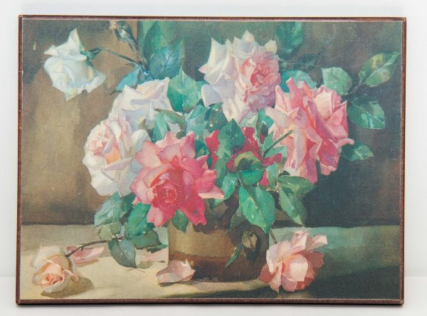 , Kitsch flower still life painting print picture Mid Century vintage on board