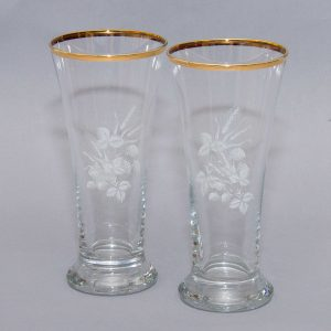 Kitsch Mid Century gild rim white wheat leaf pattern glasses lager beer water fruit juice pair 2