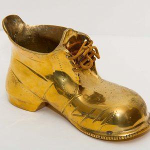 Large Brass Boot planter plant pot shoe lace up boot ornament