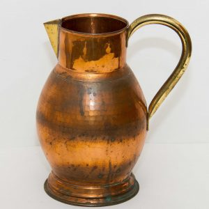 Large copper with brass handle and spout metal jug pitcher display prop pub bar cafe restaurant shop vintage Mid Century
