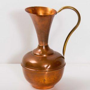 Large Vintage copper brass handle metal jug pitcher display prop pub bar cafe restaurant Mid Century