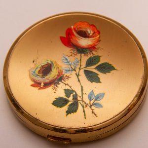 MELISSA Vintage powder vanity mirror compact gold tone painted Floral Flowers Roses lid