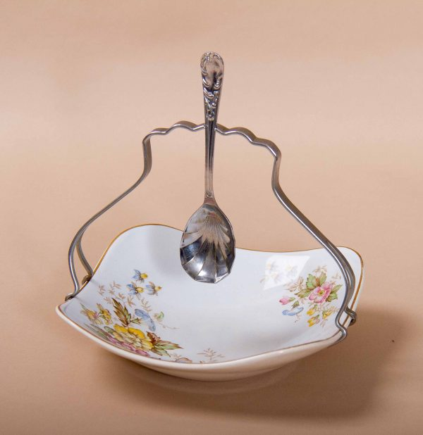, Midwinter Modern Fashion Shape Staffordshire jam dish & spoon flower pattern vintage pottery