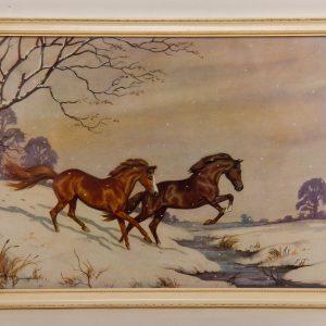 Ninetta Butterworth High Glee Horses vintage framed print 1960's