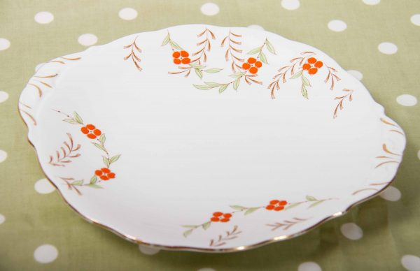 , Queen Anne fine bone china England cake plate serving plate hand painted orange flowers
