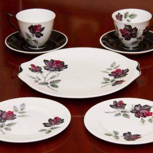 Royal Albert Masquerade tea for 2 cup saucer side plate cake plate set black pink roses vintage fine bone china