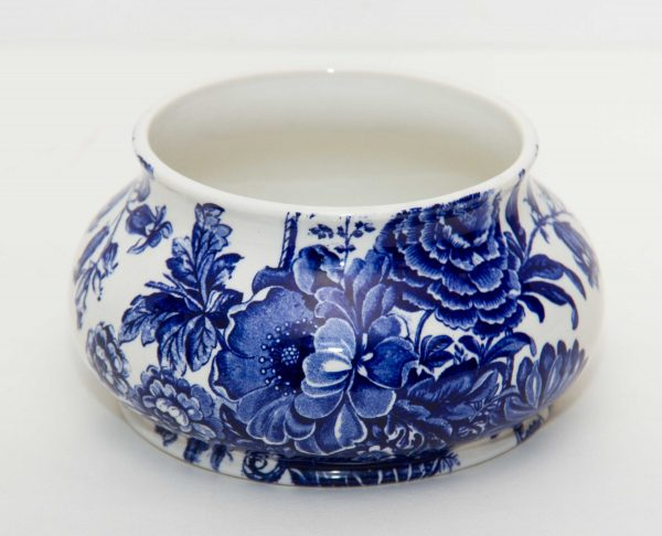 , Royal Crownford Transfer Ware Bowl Blue and White Charlotte Burleigh England J Cutts pattern