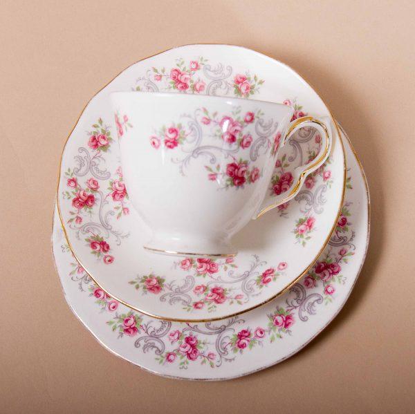 Royal Osborne Pink Rosebuds Vintage Bone China Tea Trio, Royal Osborne Pink Rosebuds Vintage Bone China Tea Trio cup saucer plate