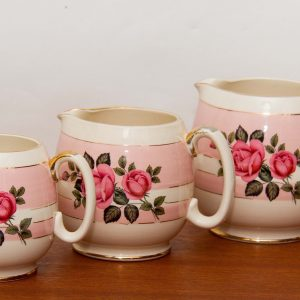 Sadler Pink Rose pattern jugs set of 3 graduated white pink gold pottery jugs vases