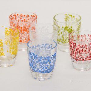 Set of 6 Vintage Shot Glasses red, blue, yellow, green, white orange Mid Century shot glasses spirit liqueur drinks cocktail bar
